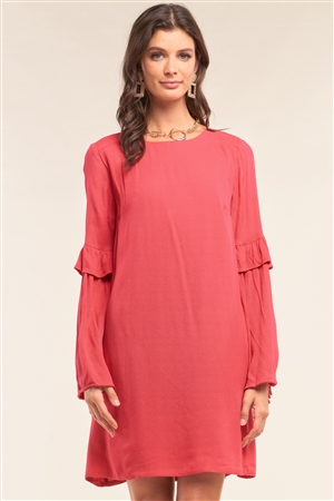 Red Relaxed Fit Crew Neck Long Frill Slit Self-Tie Sleeve Detail Mini Dress /1-2-2-1