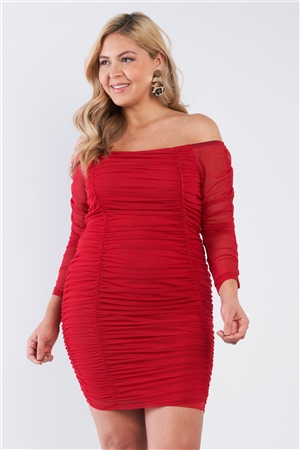 Junior Plus Red Scrunched Off The Shoulder Dress