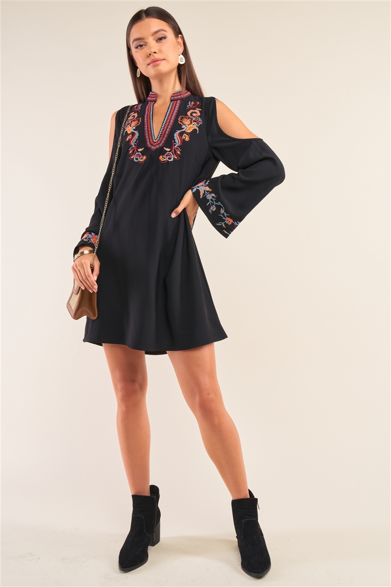 Black Slavic Floral Mix Embroidery Collared V-Neck Cut-Out Shoulder Detail Long Trumpet Sleeve Mini Dress /1-3-1