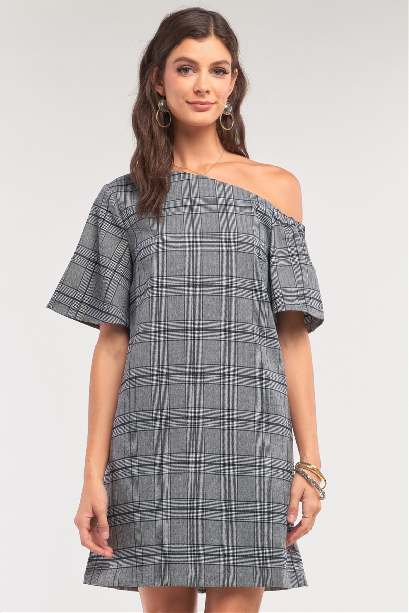 Grey Checkered One-Shoulder Relaxed Fit Mini Dress