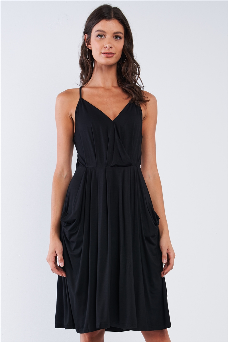 Black Casual Pleated Wrap Deep Plunge V-Neck Sleeveless Mini Dress With Front Pockets