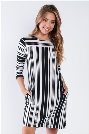 Black White Stripe 3/4 Sleeve Shift Midi Dress