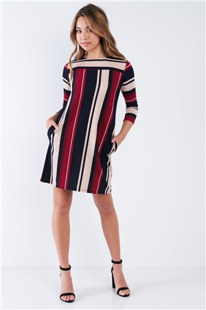 Burgundy Multi Stripe 3/4 Sleeve Shift Midi Dress