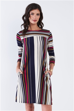 Navy Multi Stripe 3/4 Sleeve Shift Midi Dress
