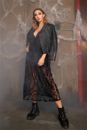 Black Floral Lace Sheer Tie Back Long Dress