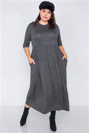 Grey Maxi 3/4 Sleeve Basic Maxi Dress