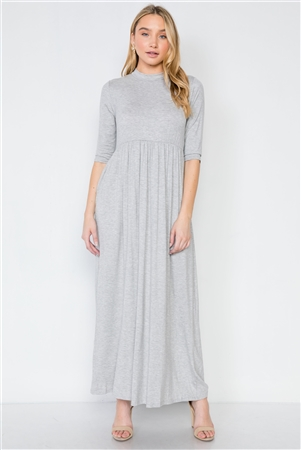 Heather Grey Maxi 3/4 Sleeve Basic Maxi Dress
