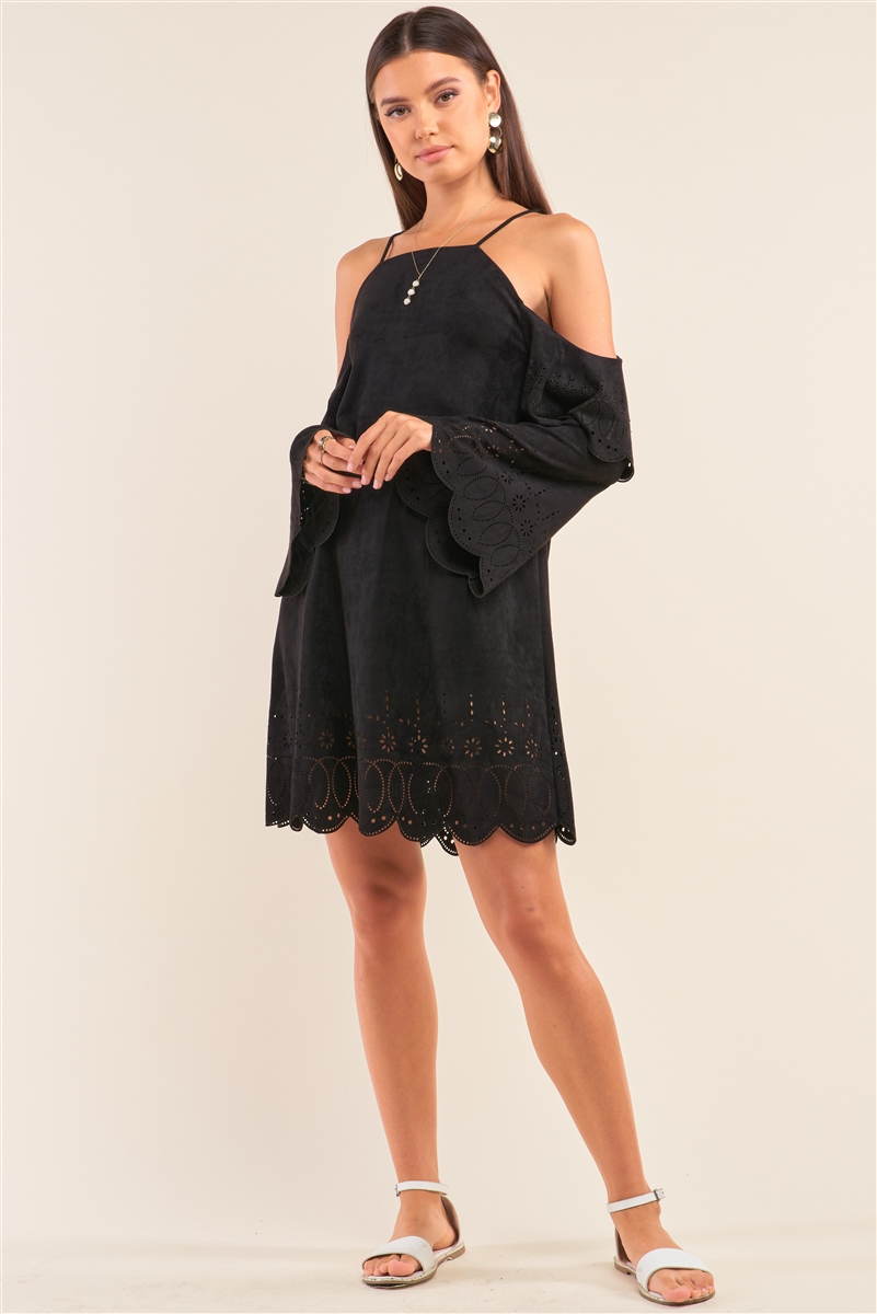 Black Faux Suede Square Neck Open Shoulder Mini Dress