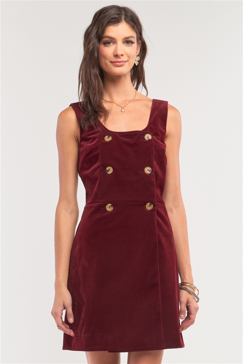 Cranberry Red Corduroy Sleeveless Double Breasted Mini Dress /1-2-2-1