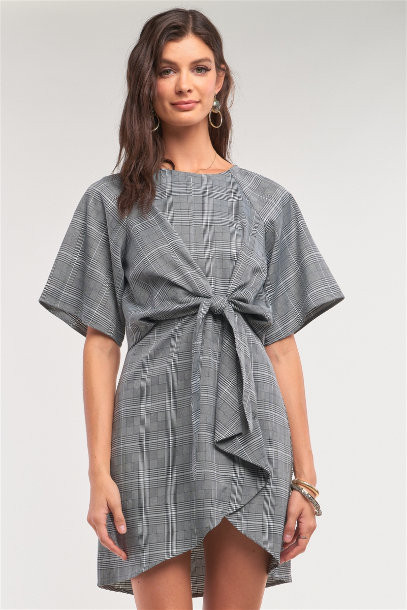 Grey Checkered Print Asymmetrical Front Self-Tie Detail Mini Dress /2-1-1-2