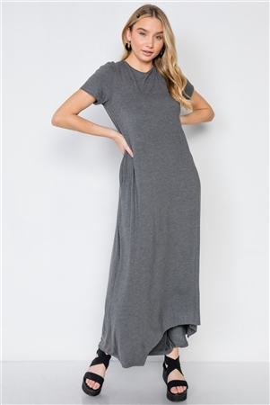 Mid Grey Basic Short Sleeve Maxi Dress