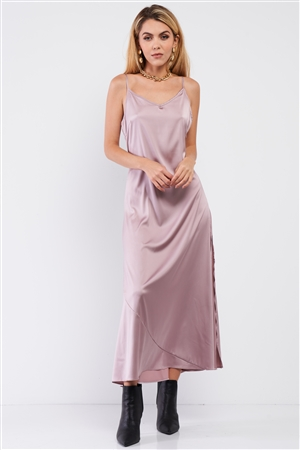 Dusty Mauve Satin Sleeveless Soft V-Neck Side Slip Midi Dress /1-1-1-1