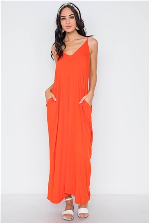 dbca551eea7 Quick View this Product Orange Solid Cami Maxi Dress  2-2-2