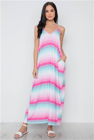 Pink Multi Stripe Cami Maxi Dress