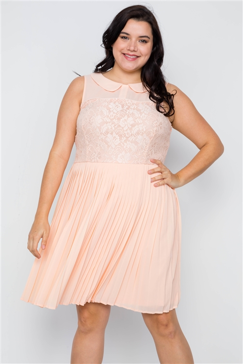 Plus Size Peach Pleated Chiffon Lace Sleeveless Dress