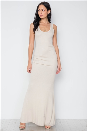 Taupe Ruched Side Jersey Tank Knit Maxi Long Dress