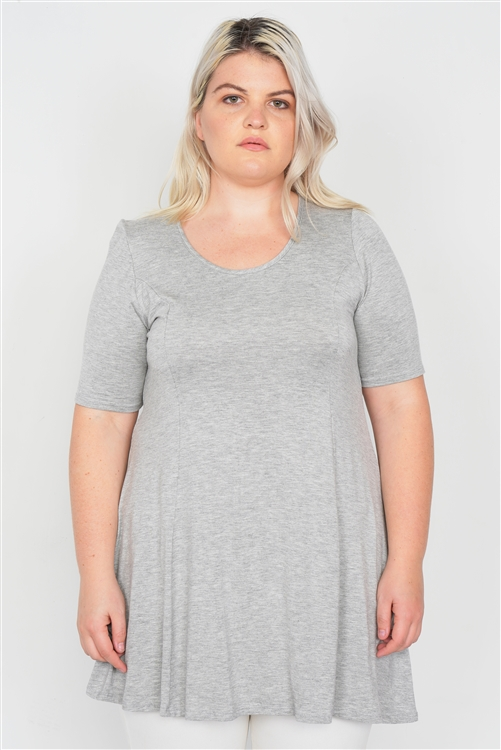 Grey Plus Size Solid Knit Tunic Top
