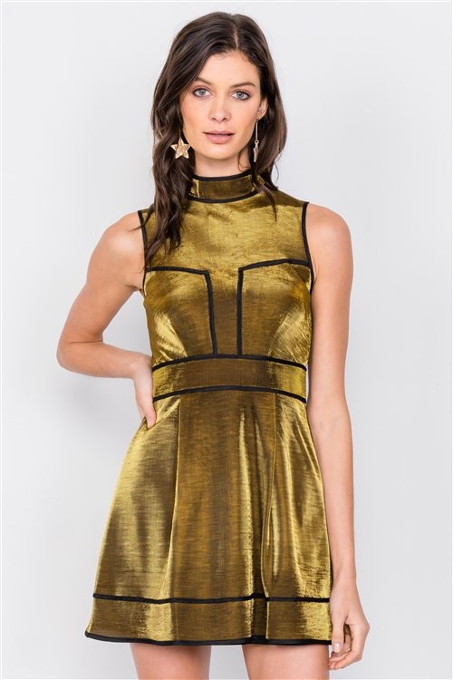 Gold Silver Metallic Mock Neck Skater Dress