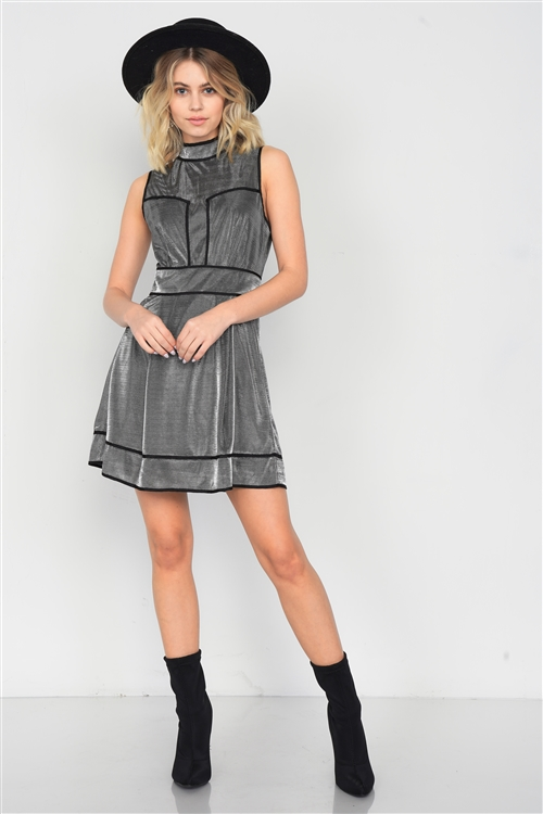 Gunmetal Silver Metallic Mock Neck Skater Dress