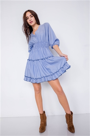Blue Contrast Stripes Frill Trim Modern Tencel Mini Dress