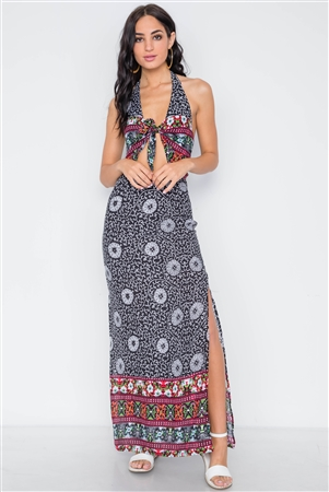 Black Floral Paisley Print Site Slit Maxi Dress