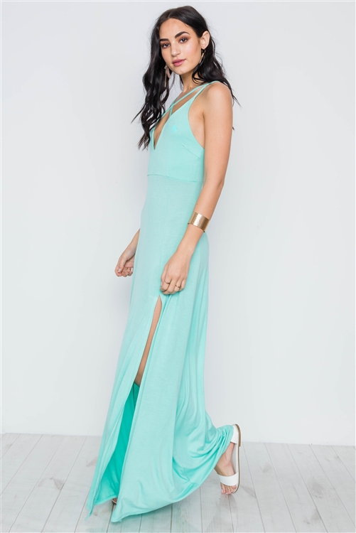 Sea Foam Turquoise Cami Strap Side Slit Solid Maxi Dress