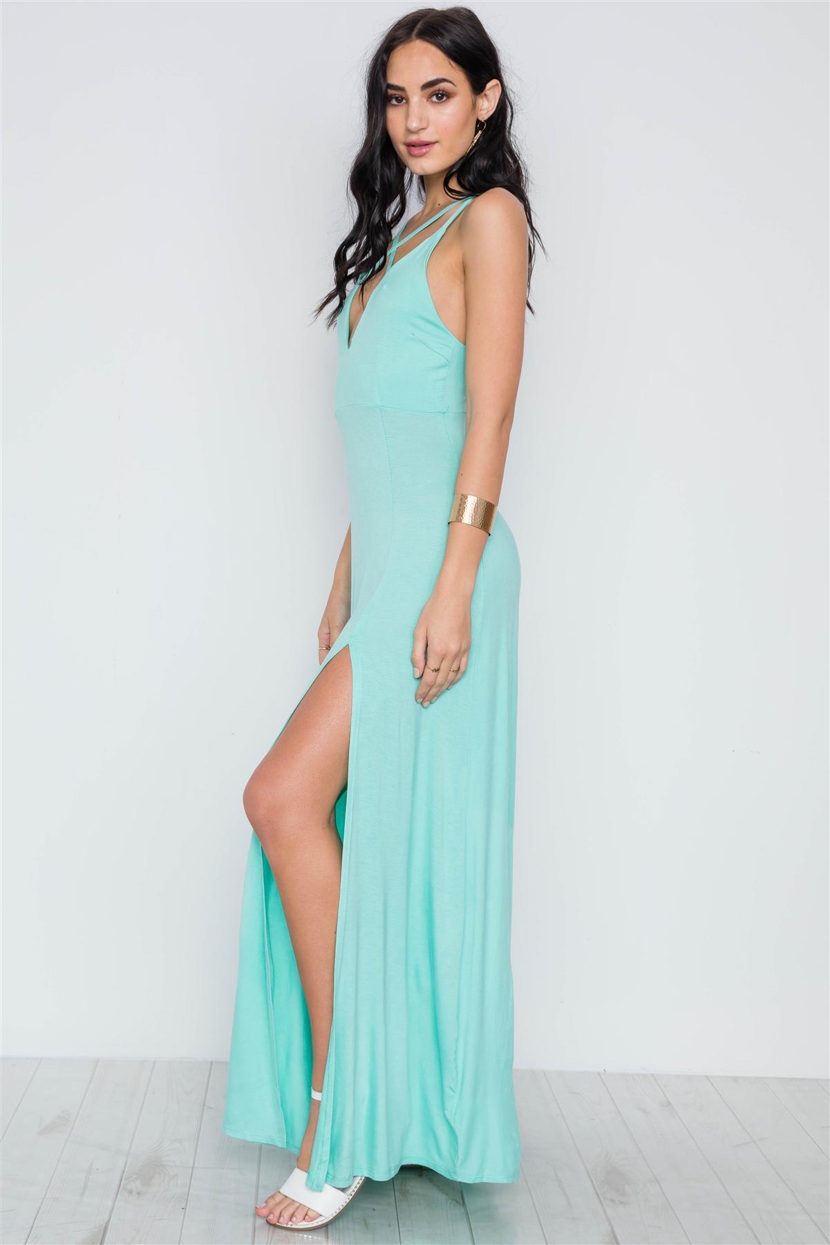 35747e07a9d Sea Foam Turquoise Cami Strap Side Slit Solid Maxi Dress   1-2-2-1