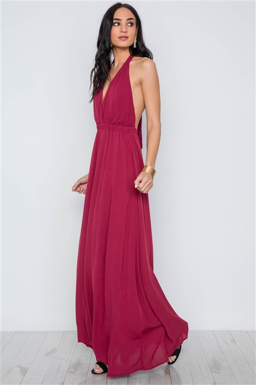 Burgundy Plunging Open Back Solid Maxi Dress