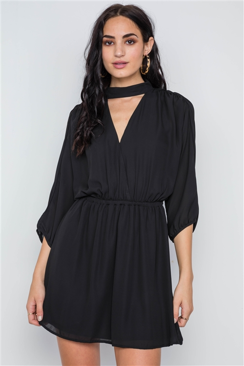 Black Batwing Sleeves Solid Mock-Neck Mini Dress /3-2-1