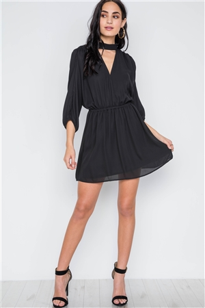 Black Batwing Sleeves Solid Mock-Neck Mini Dress