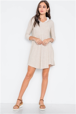 Beige 3/4 Sleeve Knit Hooded Mini Dress