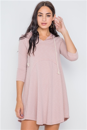 Mauve 3/4 Sleeve Knit Hooded Mini Dress