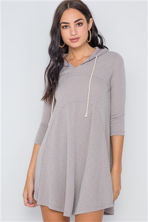 Sage 3/4 Sleeve Knit Hooded Mini Dress