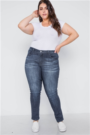 Plus Size Dark Denim Skinny Mid-Rise Pants