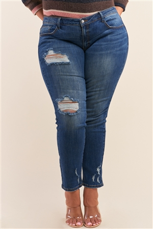 Plus Size Blue Low-Mid Rise Ripped Destroyed Denim Jeans /2-2-2