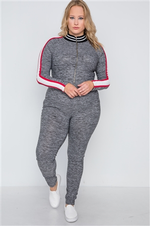 Plus Size Grey Heathered Colorblock Jumpsuit