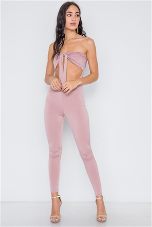 Mauve Front Tie Cut Out Skinny Leg Jumpsuit