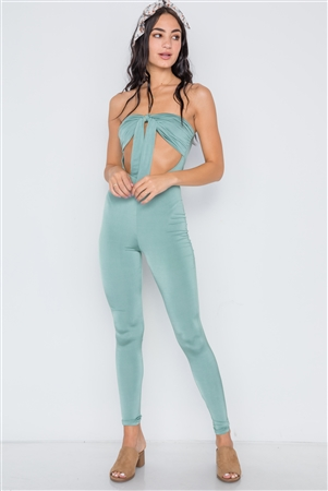 Sea Green Front Tie Cut Out Skinny Leg Jumpsuit