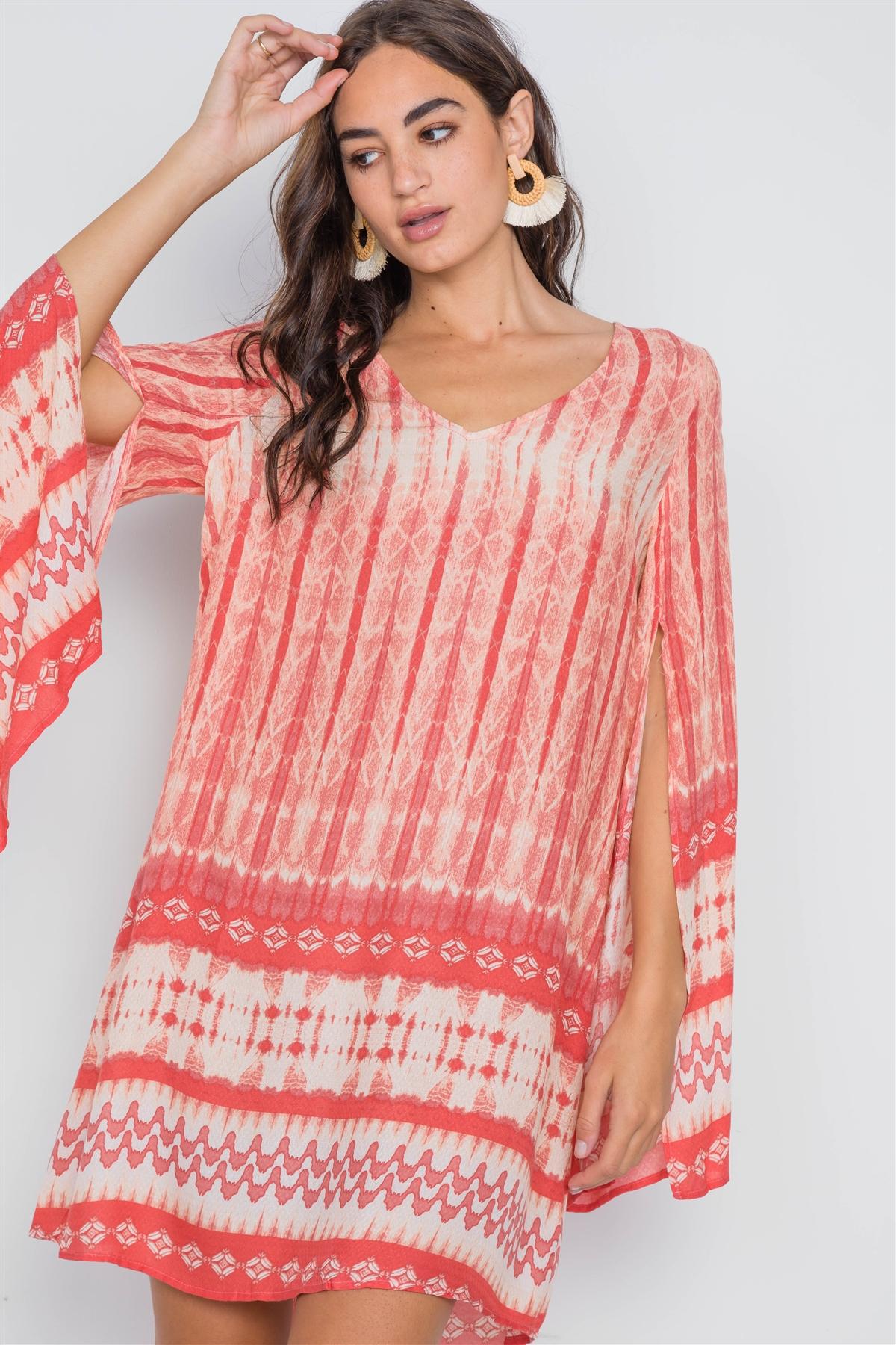 Coral Geo Print Long Slit Sleeves Boho Tunic Dress
