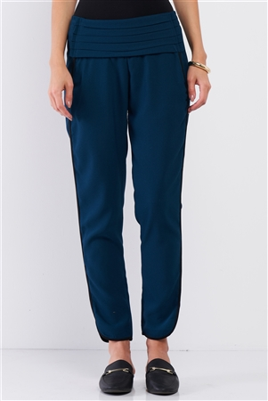 Teal Skinny Ankle Contrast Side Panel Pants