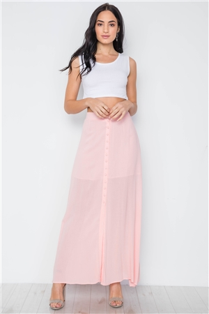 Pink Button-Front Maxi Skirt