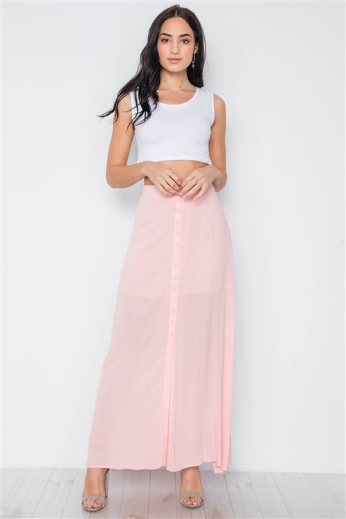 Pink Button-Front Maxi High Waist Skirt