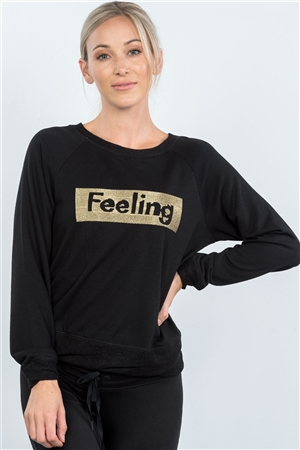 Black Graphic Front FEELING Sweater