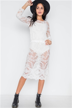White Lace See Through Midi Dress