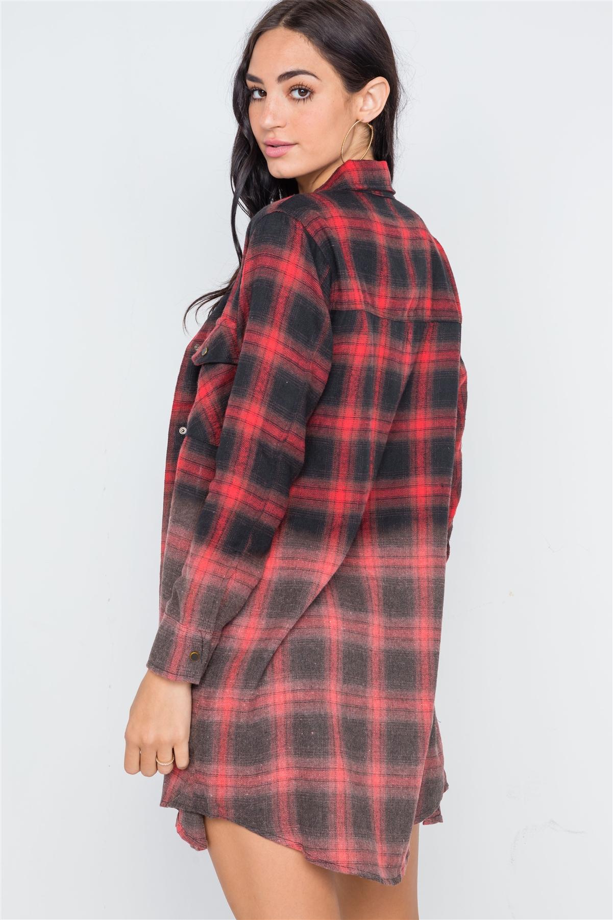 aab08ef6aa Red Black Plaid Flannel Long Sleeve Shirt Dress  4-2