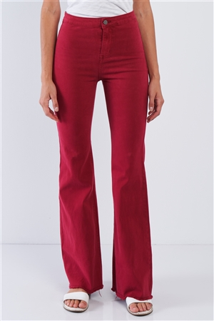 Red High Waisted Bell Bottom Pants