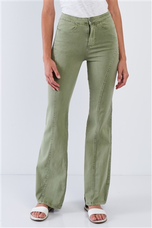 Deep Sage High Waisted Bell Bottom Pants