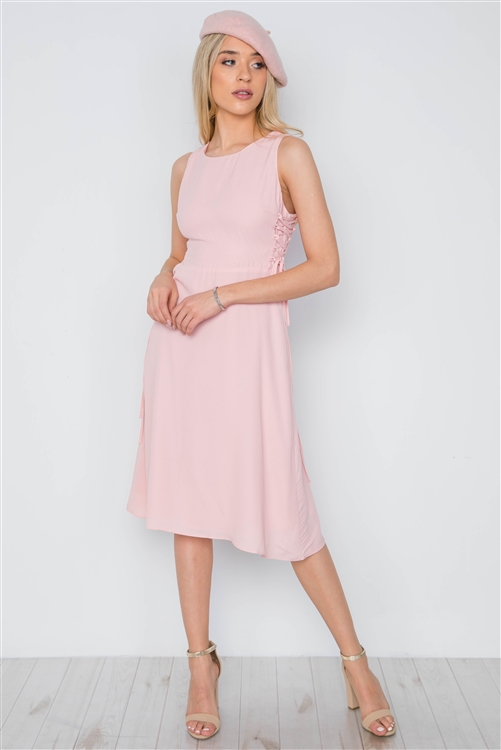 Blush Lace Up Sides Sleeveless Solid Midi Dress