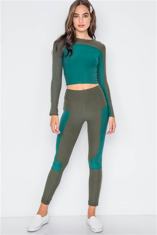 Green Knit Colorblock Two Piece Top & Legging Set