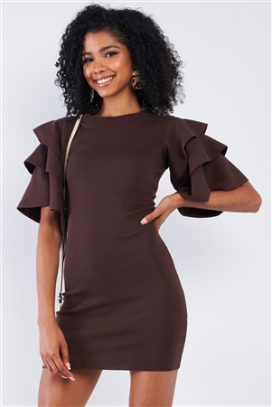 Dark Coffee Brown Tight Fit Multi Layer Frill Short Sleeve Mini Dress /2-2-2